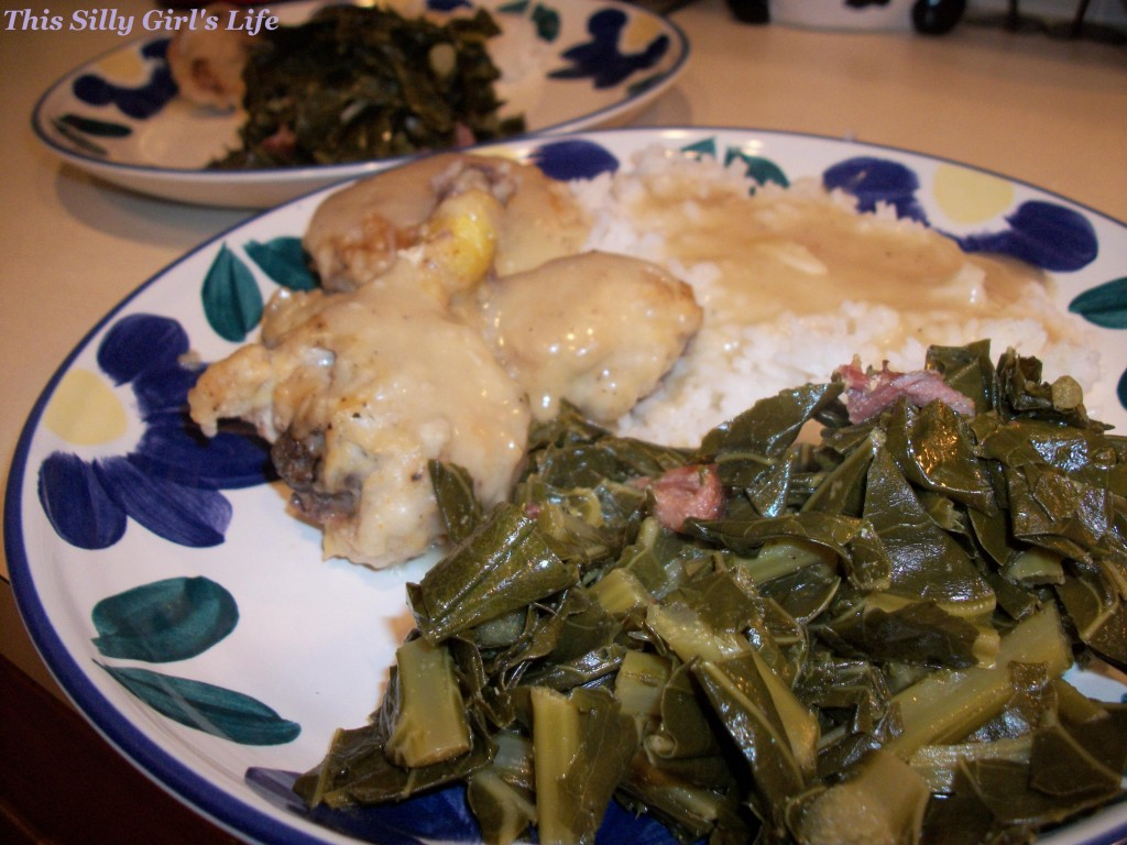 Southern Style Collard Greens, simmered for hours in a flavorful broth with ham hocks until tender. - ThisSillyGirlsLife.com