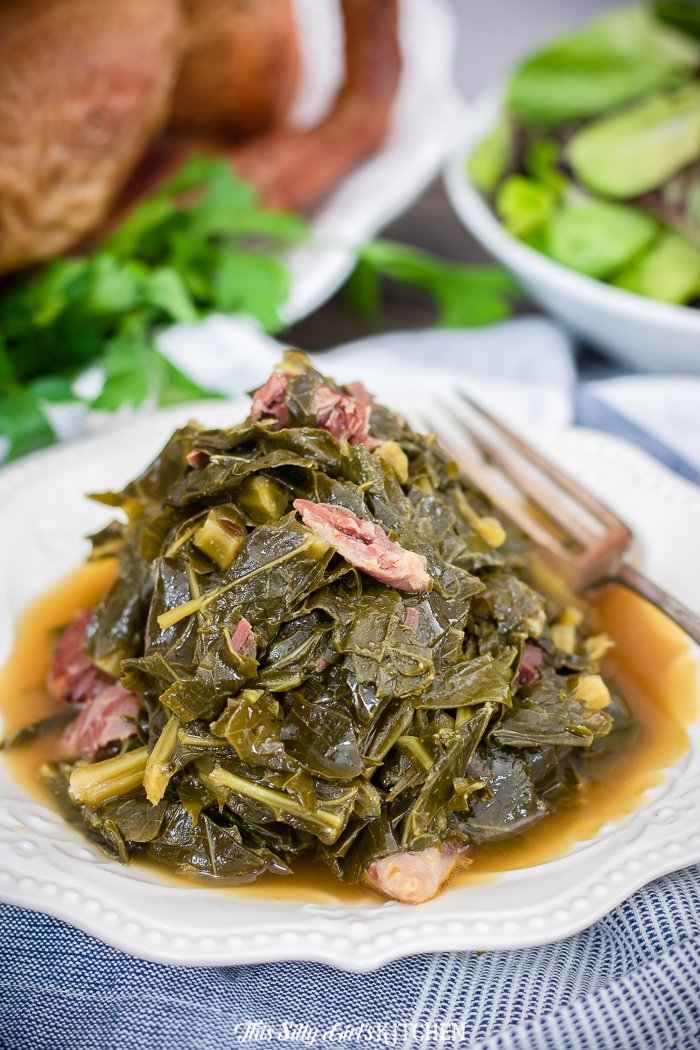 Southern Collard Greens piled on white plate
