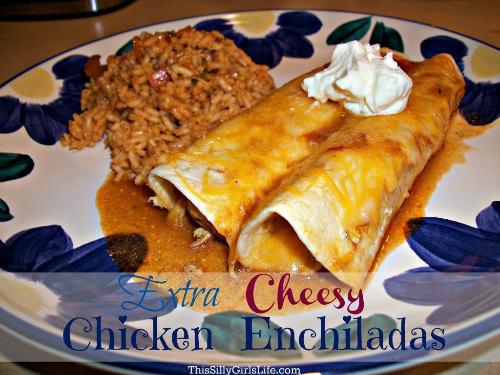 Extra Cheesy Chicken Enchiladas Recipe from ThisSillyGirlsLife.com