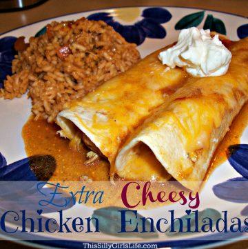 Extra Cheesy Chicken Enchiladas Recipe from ThisSillyGirlsLife.com
