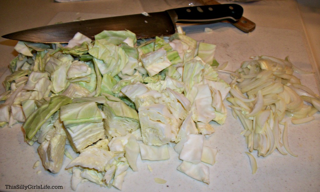 Boiled Cabbage with Crispy Bacon recipe from ThisSillyGirlsLife.com