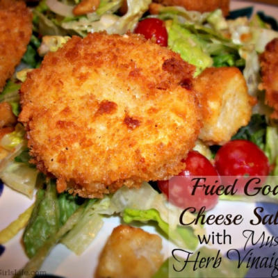 Fried Goat Cheese Salad with Mustard-Herb Vinaigrette