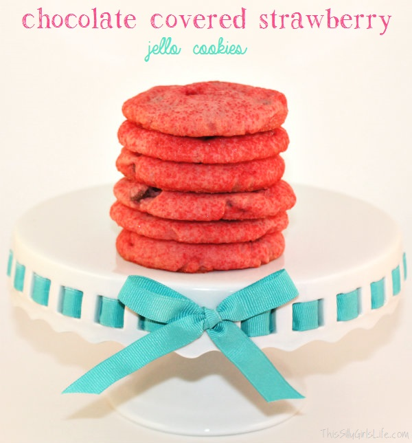 Chocolate Covered Strawberry Jello Cookies