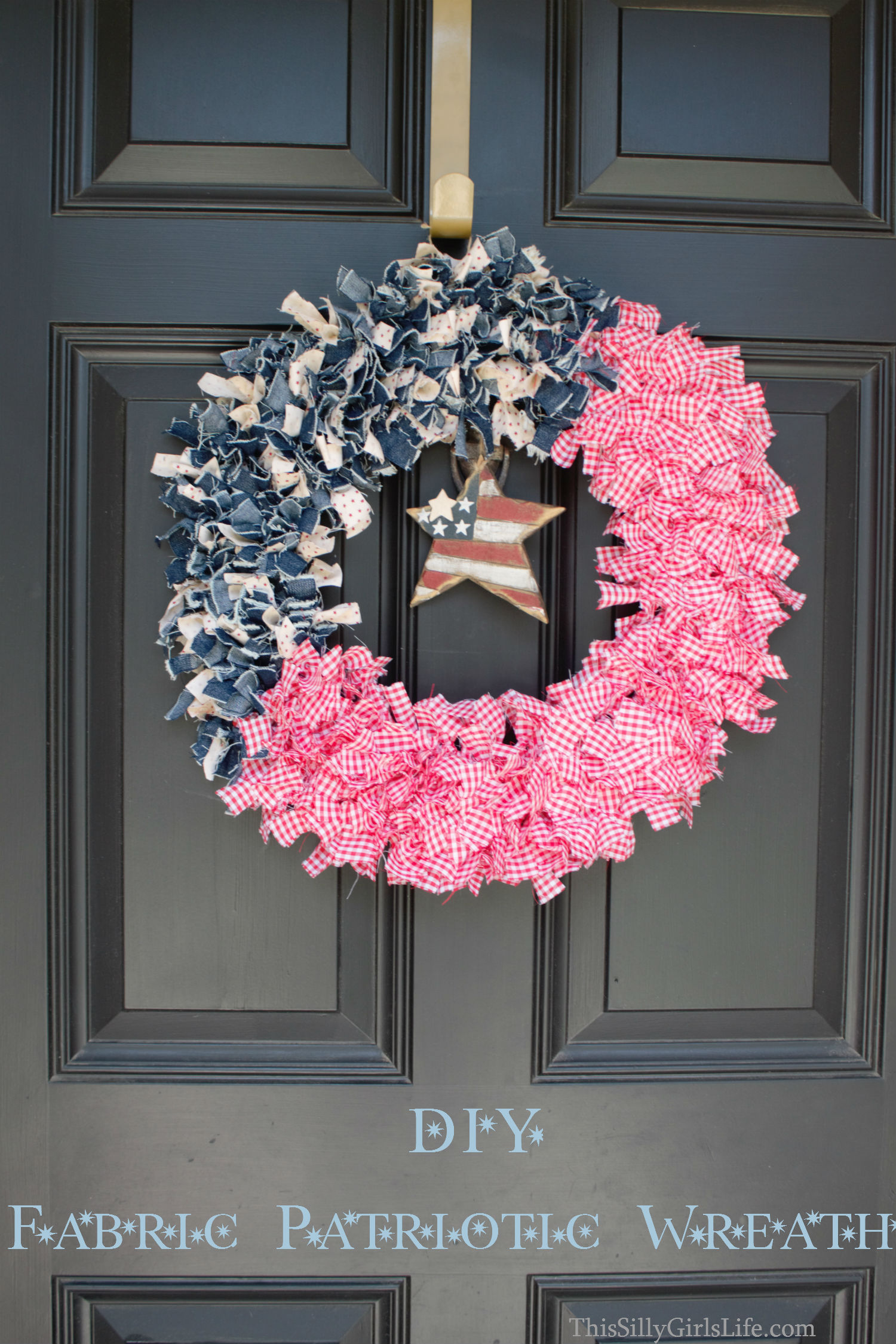 DIY Patriotic Fabric Wreath - This Silly Girl\'s Kitchen