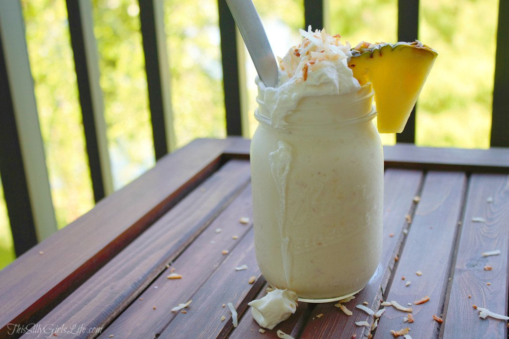 Aloha Milkshake, homemade toasted coconut &  pineapple ice cream blended and topped with fresh whipped cream! - ThisSillyGirlsLife.com