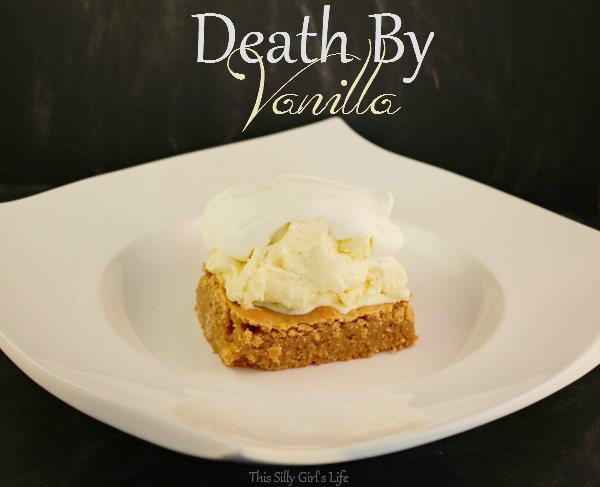 Death By Vanilla: blondie, vanilla ice cream and vanilla bean whipped cream Recipe from https://ThisSillyGirlsLife.com #Vanilla #IceCream #Blondie #WhippedCream #Recipe