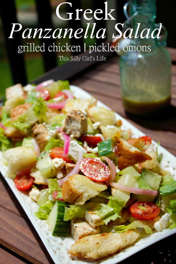 Greek Panzanella Salad with Homemade Greek Salad Dressing recipe from https://ThisSillyGirlsLife.com #GreekSalad #Homemade #SaladDressing #Panzanella