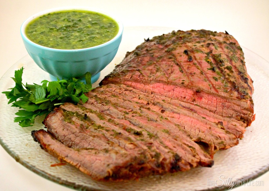 Cilantro-Lime Marinated Flank Steak with Homemade Chimichurri recipe from http://ThisSillyGirlsLife.com #FlankSteak #Chimichurri #Cilantro #Lime #Marinade