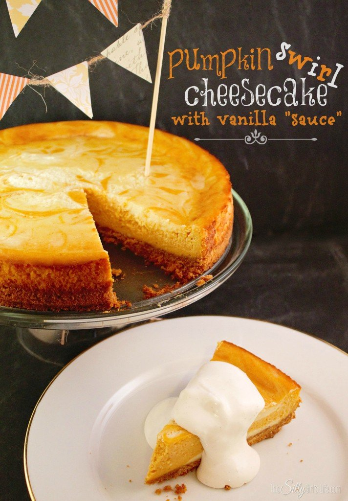 Pumpkin Swirl Cheesecake with Vanilla Sauce