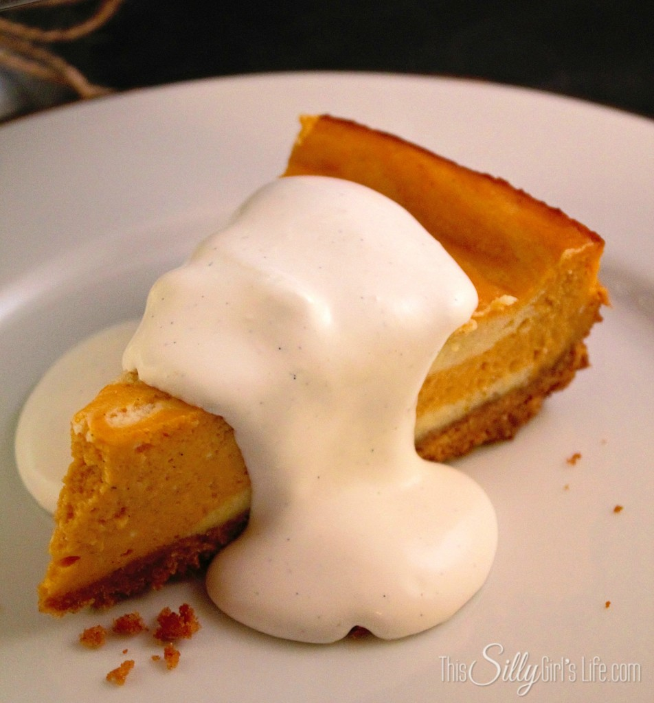 "Pumpkin Swirl Cheesecake with Vanilla ""Sauce"" recipe from http://ThisSillyGirlsLife.com #Cheesecake #Pumpkin #FallRecipes #Vanilla"
