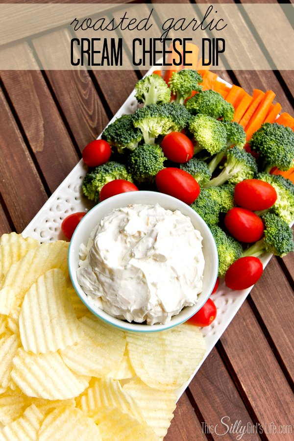 Roasted Garlic Cream Cheese Dip recipe from http://ThisSillyGirlsLife.com #Appetizer #Dip #RoastedGarlic #CreamCheeseDip