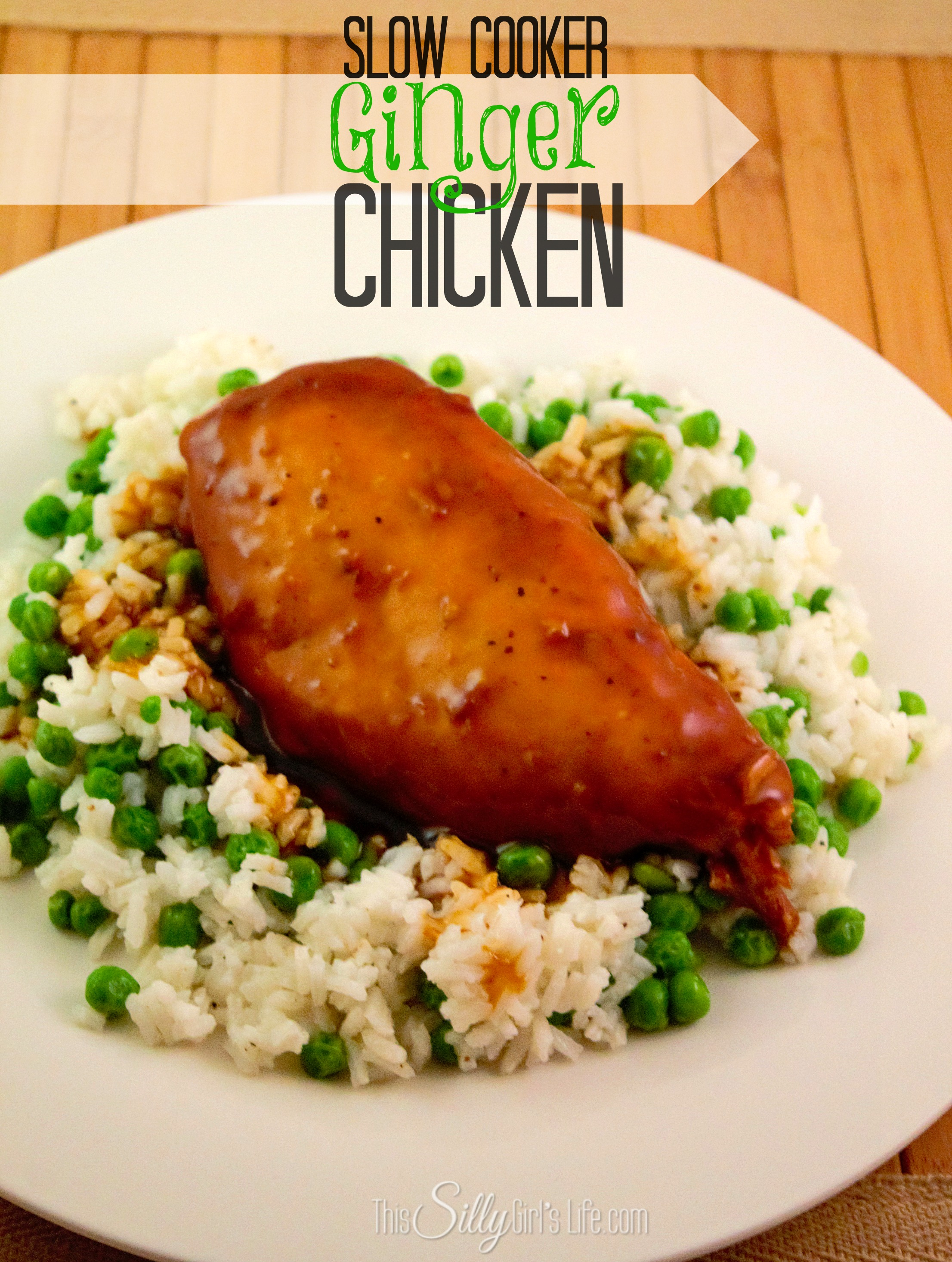 Slow Cooker Ginger Chicken recipe from http://ThisSillyGirlsLife.com #SlowCooker #Chicken #Asian #GingerChicken