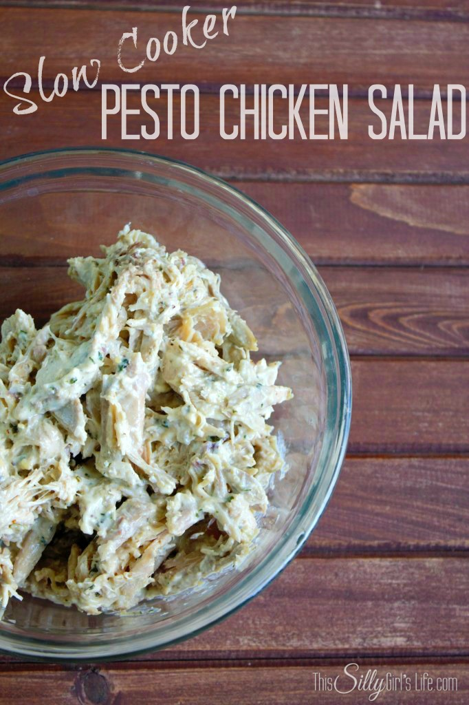 Slow Cooker Pesto Chicken Salad recipe from http://ThisSillyGirlsLife ...