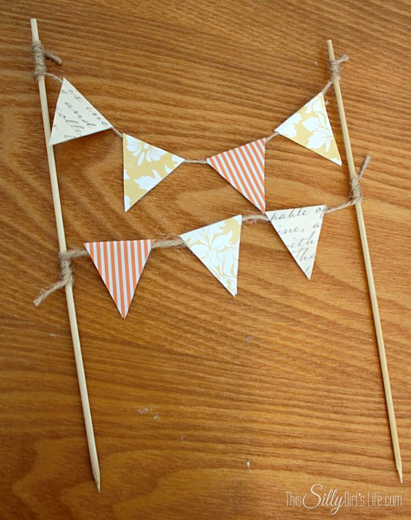 DIY Cake Topper Bunting tutorial from https://ThisSillyGirlsLife.com #DIY #CakeTopper #Bunting