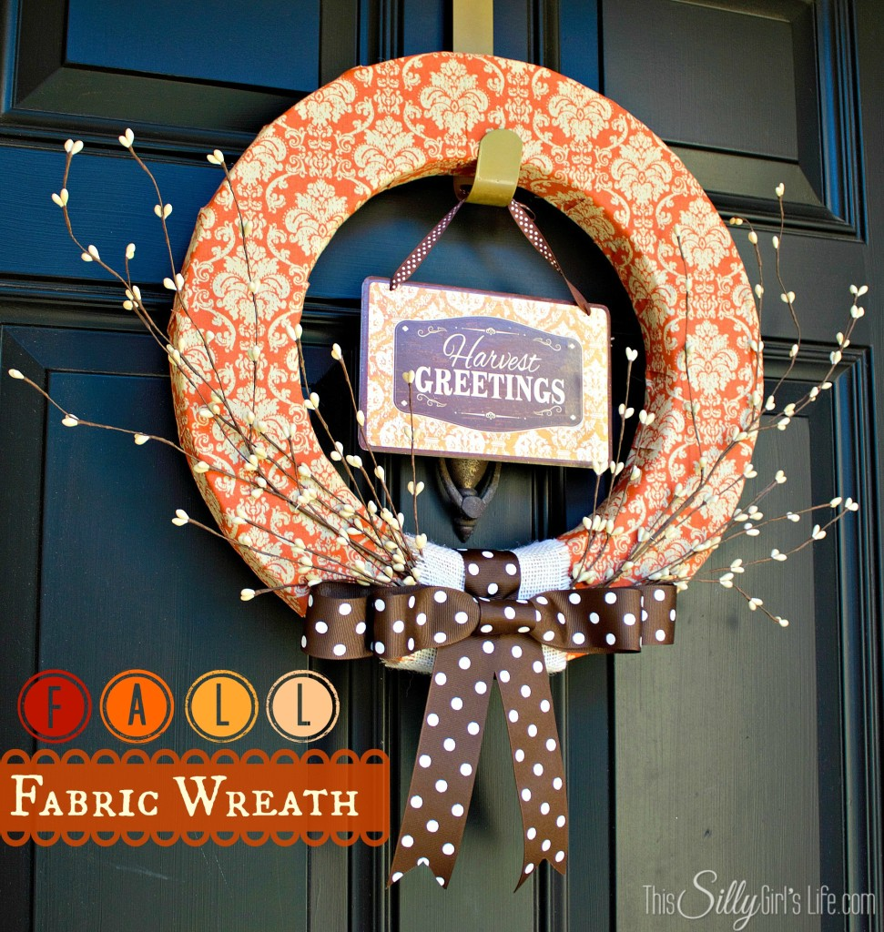 Fall Fabric Wreath tutorial from https://ThisSillyGirlsLife.com #Fall #Wreath #FallDecor #FabricWreath #Orange