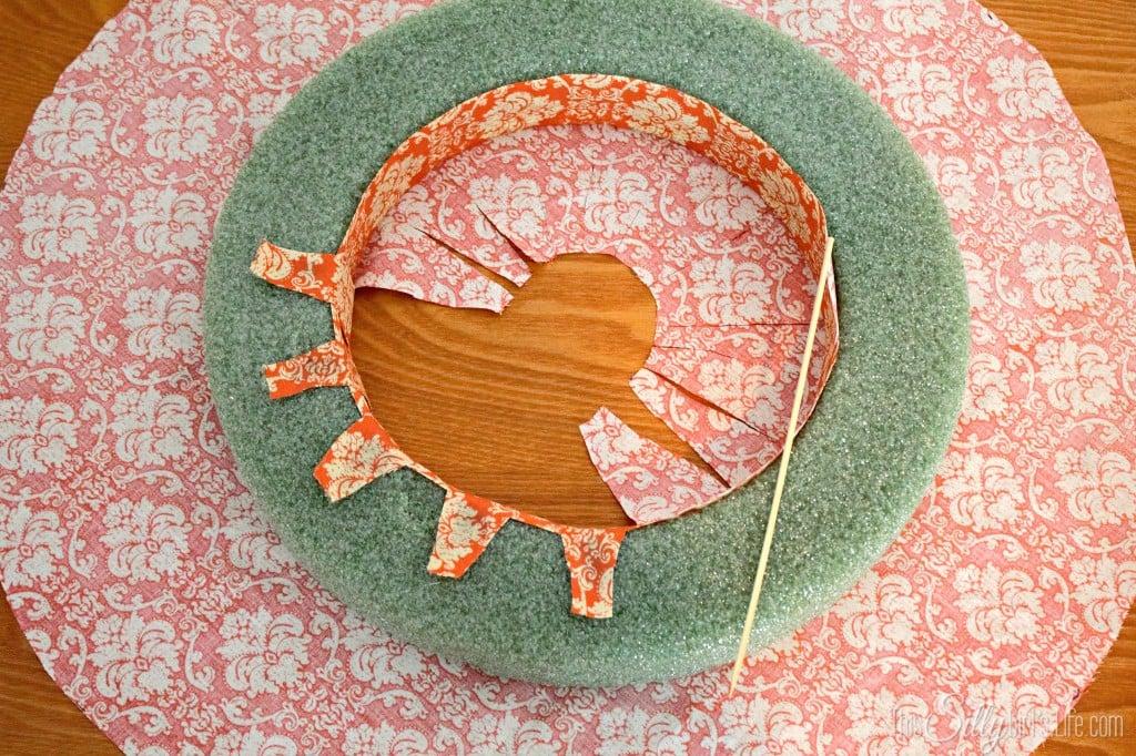 Fall Fabric Wreath tutorial from http://ThisSillyGirlsLife.com #Fall #Wreath #FallDecor #FabricWreath #Orange