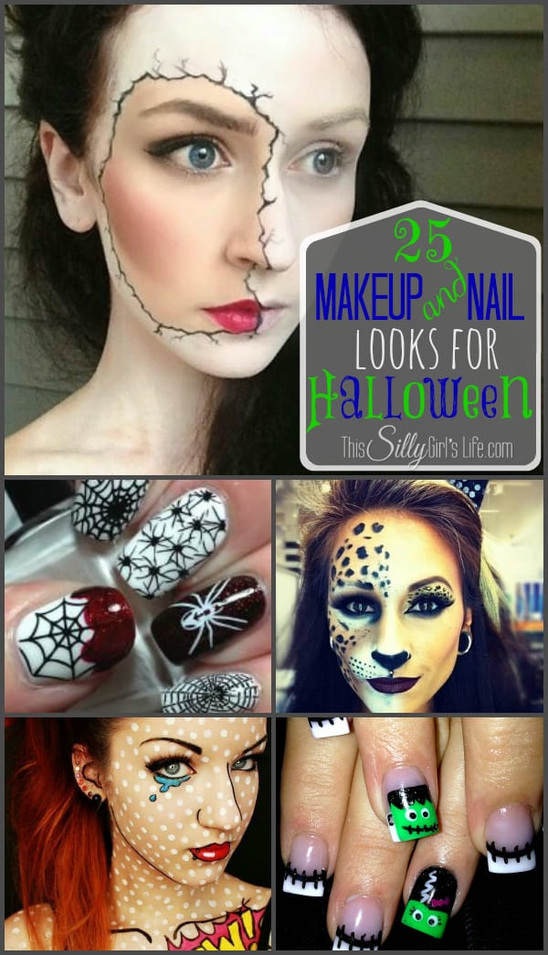 25 Makeup and Nail Looks for Halloween {The Weekly Round UP} from http://ThisSillyGirlsLife.com #HalloweenMakeup #HalloweenNails #RoundUp