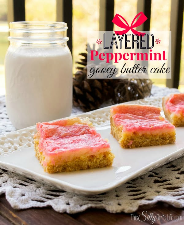 Layered Peppermint Gooey Butter Cake, these are to die for! Easy to follow directions too from https://ThisSillyGirlsLife.com