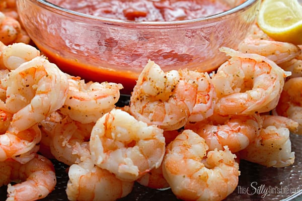 Drunken Shrimp Cocktail, adding white wine and a ton of spices really kicks up this traditional appetizer! Perfect for pleasing a crowd.