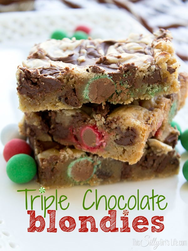 Triple Chocolate Blondies, moist and chewy! Loaded with chocolate goodies with a swirl of Nutella!
