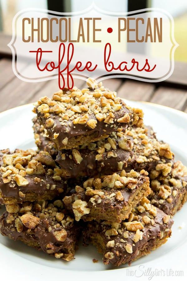 Chocolate Pecan Toffee Bars