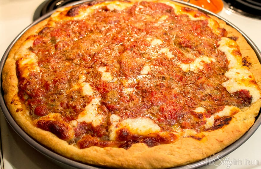 Homemade Chicago Style Deep Dish Pizza, she lists the recipes for EVERYTHING. The dough, Italian sausage and pizza sauce! The best Chicago style pizza outside of the city!
