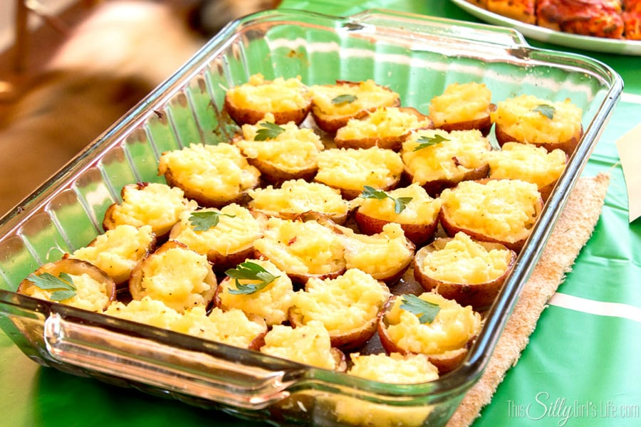 Parmesan Potato Bites, roasted red bliss potatoes amped up into this amazing appetizer!
