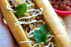 Mexican Style Hot Dogs with Spicy Tomato Onion Relish