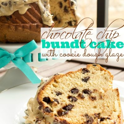 Chocolate Chip Bundt Cake with Cookie Dough Glaze