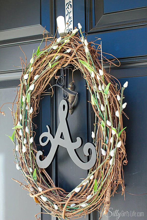 Rustic Initial Wreath, something you can make in an afternoon to spruce up a front door or mantel.