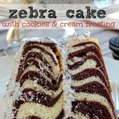 Zebra Cake with Cookies and Cream Frosting