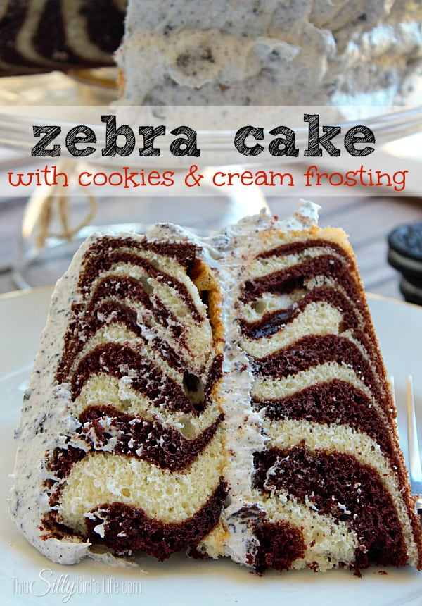 Zebra Cake with Cookies and Cream Frosting, This is by FAR my favorite cake ever ever ever. Seriously.... I think it's that frosting that really did it for me, swoon.