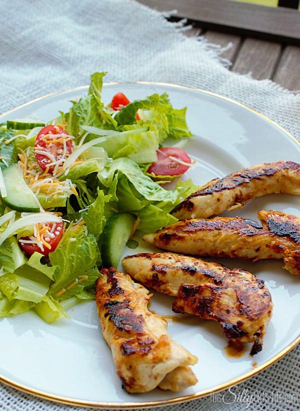CopyCat Cracker Barrel Grilled Chicken Tenderloins, so easy with only 4 ingredients!