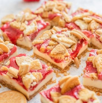 Cut cheesecake bars