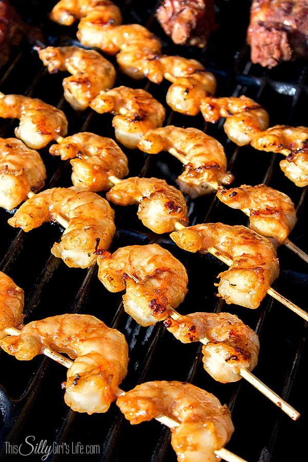 Asian Marinated Grilled Shrimp Skewers, slightly sweet with the smokiness from the grill really let's the Asian marinade shine!