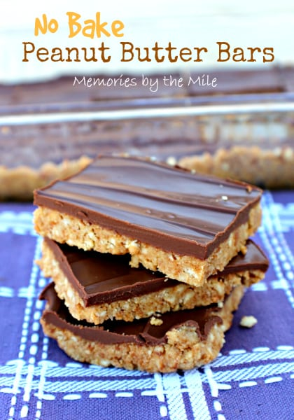 No Bake Peanut Butter Bars, If you love Reese's Peanut Butter Cup's, you'll love these No Bake Peanut Butter Bars! They just melt in your mouth.