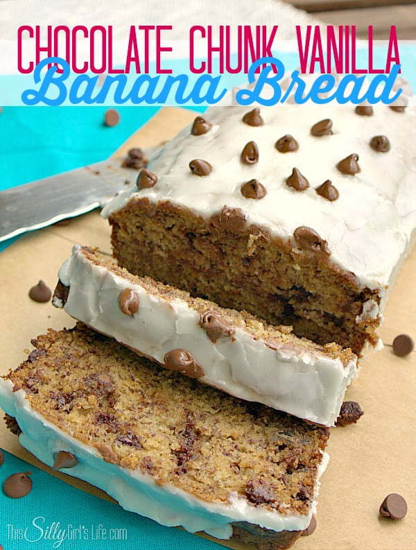Chocolate Chunk Vanilla Banana Bread, moist banana bread studded with chocolate and topped with a thick vanilla glaze, Heaven!