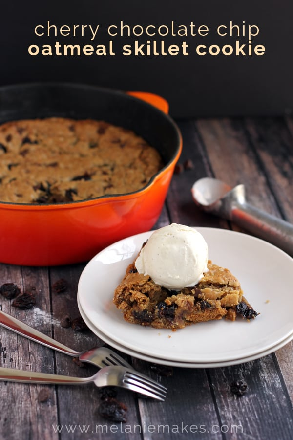 Cherry Chocolate Chip Oatmeal Skillet Cookie, an oatmeal cookie base is studded with sweet dried cherries and chocolate chips.