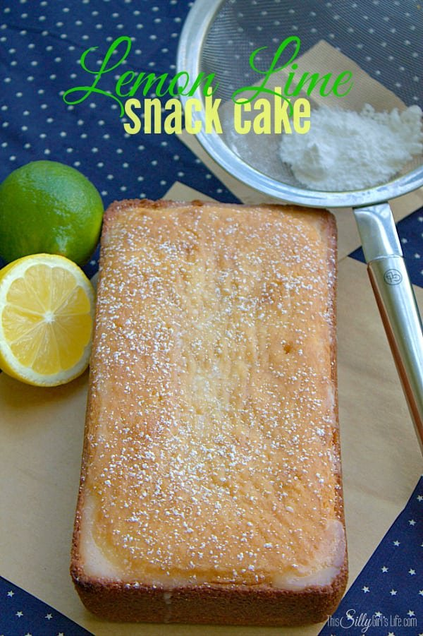 Lemon Lime Snack Cake, similar to a pound cake in texture with a slight tartness from fresh squeezed lemons and limes, topped with a super thin lemon lime glaze.