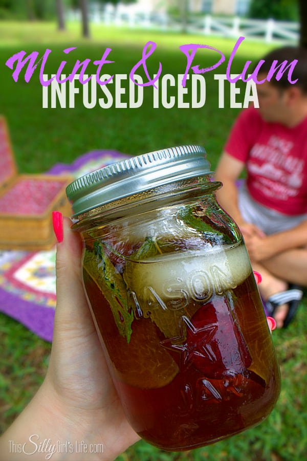 Mint & Plum Infused Iced Tea, sweet tea infused with the flavors of fresh mint and sliced plums, perfect for a summer picnic! #TEArifficPairs #shop