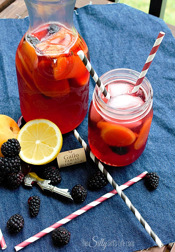Blackberry Apricot Sangria, Made with sliced apricots, blackberries, pink moscato and more.  Perfect for a summer evening!  #MoscatoDay #ad