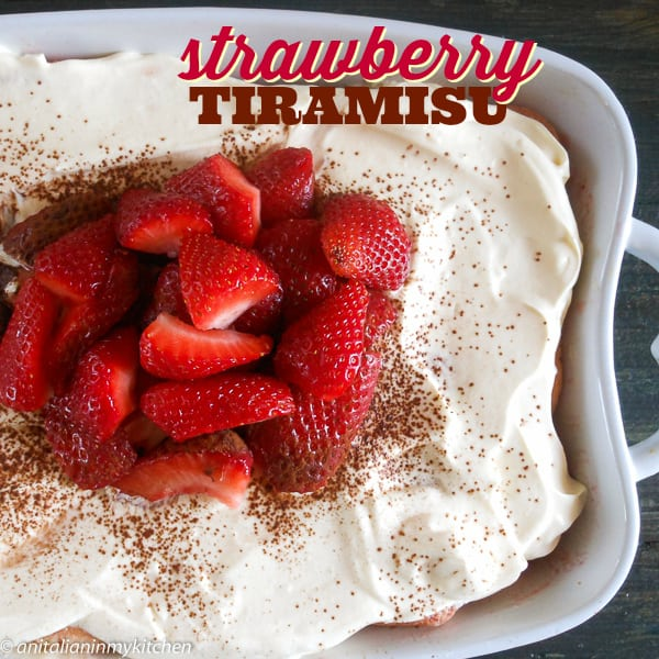 Strawberry Tiramisu, layers of ladyfingers soaked in strawberry puree, sweetened marscapone cream and sprinkled with cocoa.