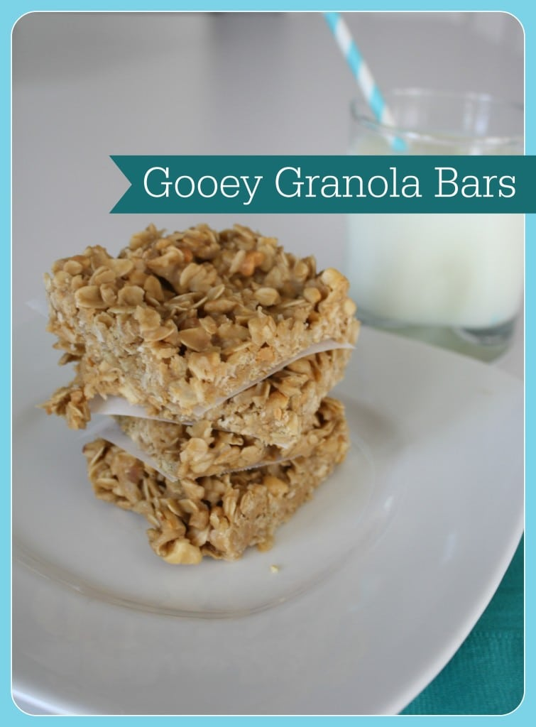 Gooey Granola Bars, no bake, sweet and fun to make with kids!