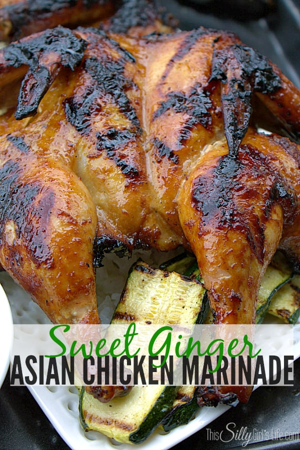 #ad Sweet Ginger Asian Chicken Marinade, Cornish hens marinaded in a mixture of ginger, honey, green onions and soy, grilled slowly and served with a sweet and spicy dipping sauce. #Grill4Flavor #shop