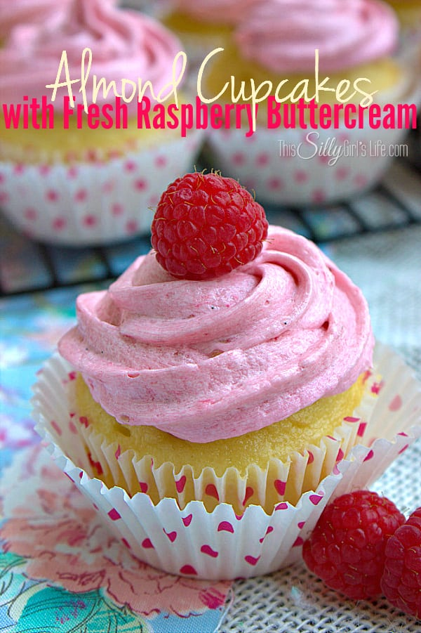 Almond Cupcakes with Fresh Raspberry Buttercream Frosting