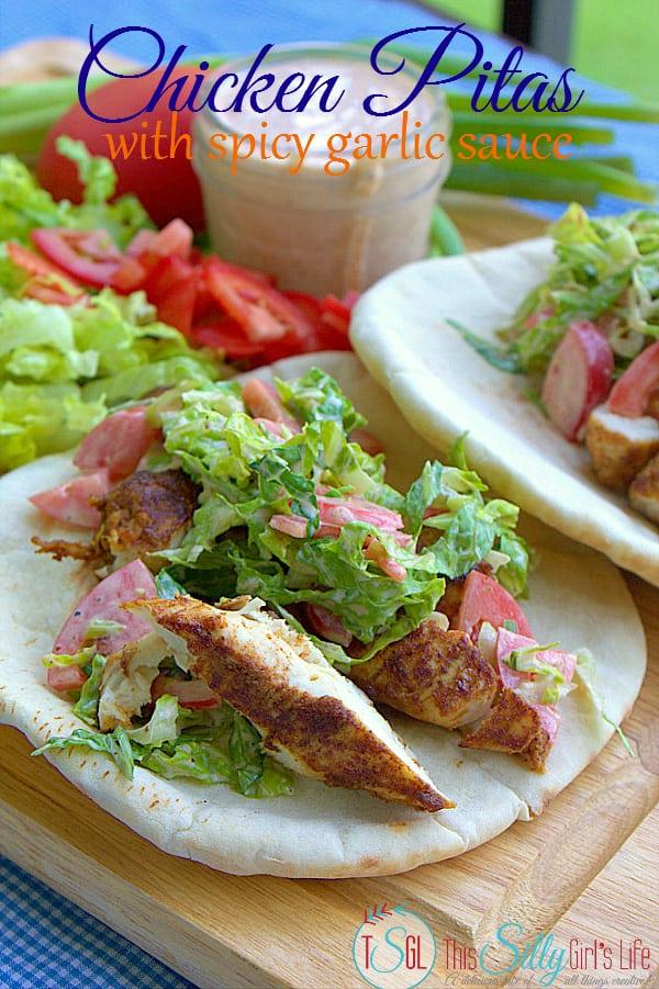 Chicken Pitas with Spicy Garlic Sauce #SauceOn #shop