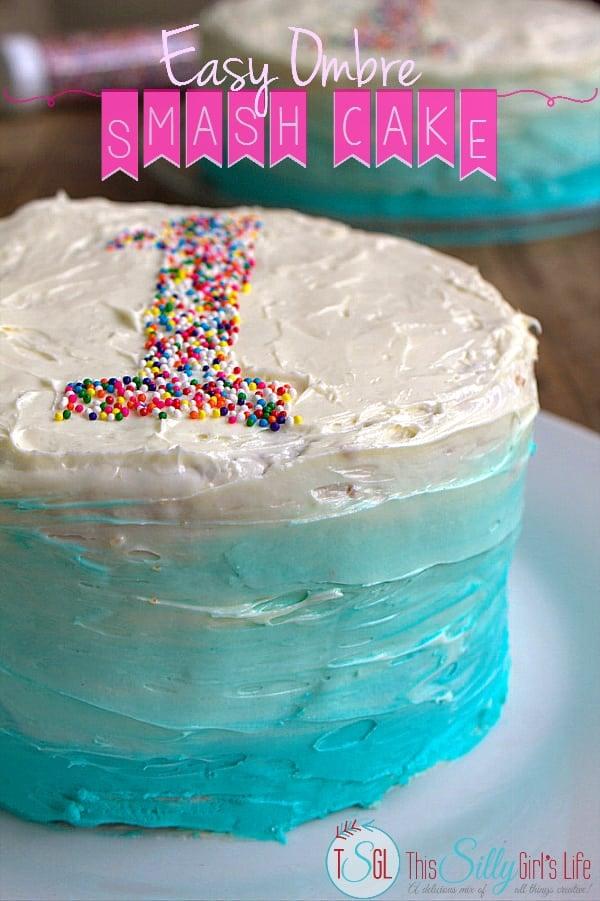 Easy Ombre Smash Cake