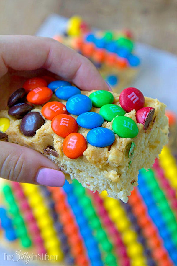 Monster rice krispies treats, rice krispies smeared with peanut butter frosting and a rainbow of M&Ms, so yummy!