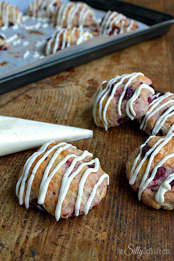 Cherry Goat Cheese Scones, drop-style scones made with creamy goat cheese and studded with fresh cherries.
