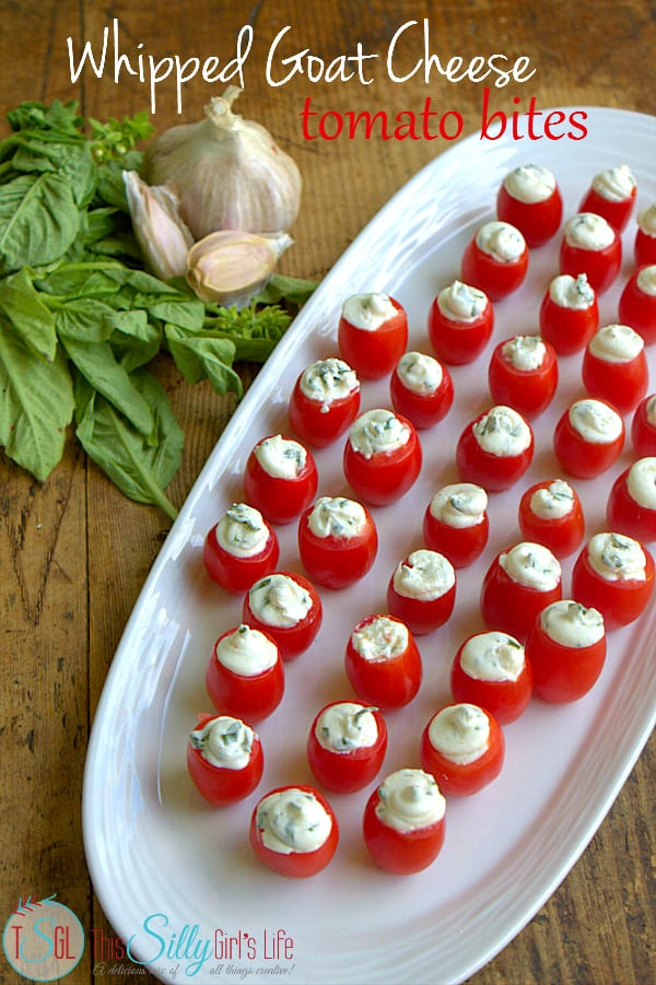 Whipped Goat Cheese Tomato Bites, grape tomatoes stuffed with goat cheese and fresh basil, flavored with Italian vinaigrette. #FoodDeservesDelicious #shop